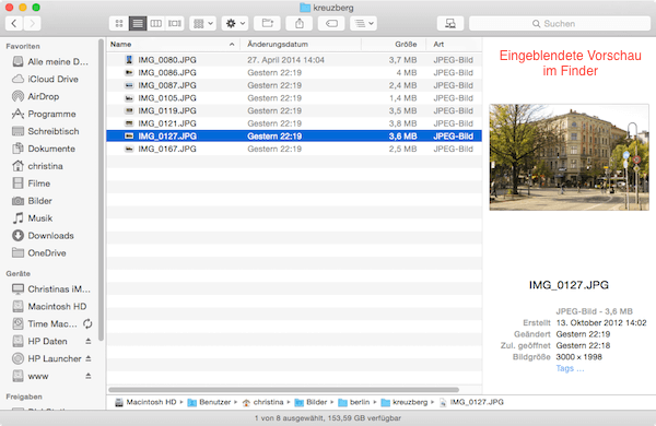 Finder Vorschau für Dateien einblenden unter Mac OS Yosemite