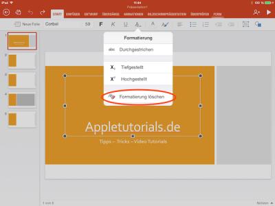 In Power Point fürs iPad alle Formatierungen auf einmal löschen