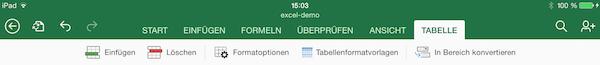 Excel App Tabellen auf dem iPad formatieren