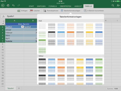 Formatvorlagen für Excel App auf iPad