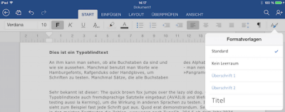 Office Word Formatvorlagen fürs iPad