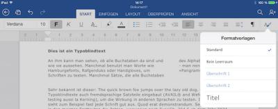 Office Word Formatvorlagen fürs iPad