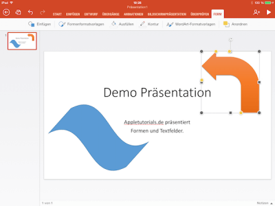 Formen in Office App auf iPad bearbeiten & formatieren