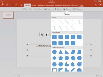 Formen in Office auf dem iPad in Dokument einfügen