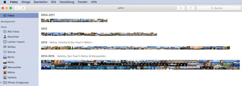 Linke Seitenleiste in Fotos für Mac OS X einblenden