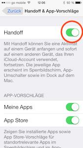 Handoff in iOS 8 einschalten