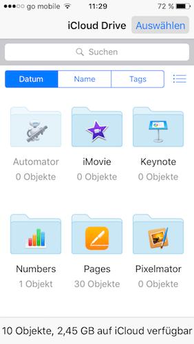 iCloud Drive Apps auf iPhone & iPad auflisten