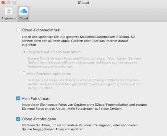 iCloud Fotomediathek in Fotos App für Mac aktivieren