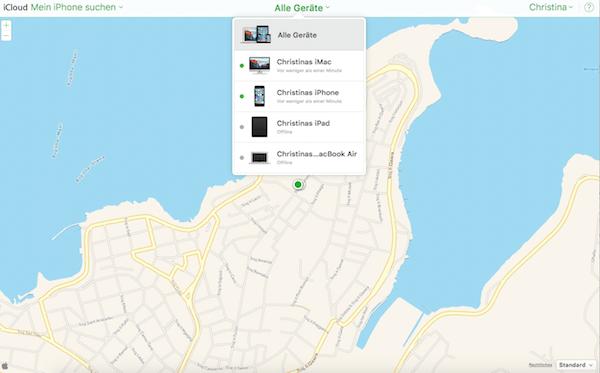 in iCloud die iPhone oder iPad Suche starten