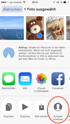Kontaktbilder in iOS 8 in Foto App auswählen