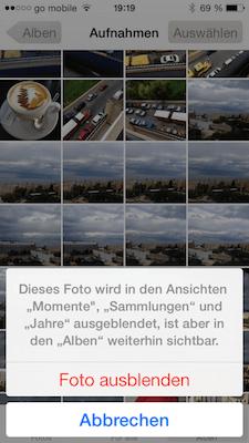Fotos verbergen auf dem iPhone oder iPad