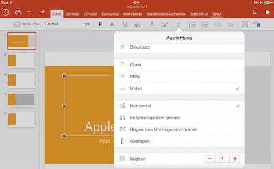 Textausrichtung für Power Point Folie auf dem iPad