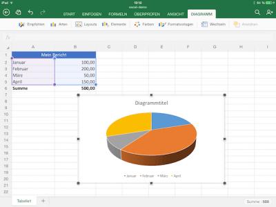 Diagramm in der Microsoft Excel App einfügen