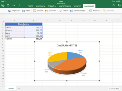 Diagramm-Layout in Excel auf dem iPad festlegen