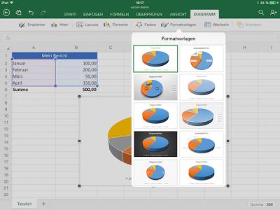 Mit Formatvorlagen das Diagramm in Excel anpassen