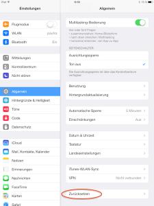 iPad oder iPhone zurücksetzen