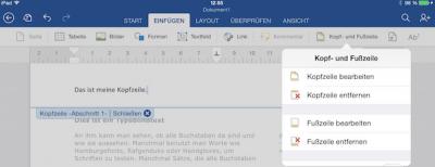Kopf- und Fußzeilen einfügen auf dem iPad in Office Word
