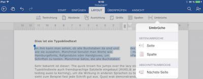 Zeilenumbruch auf dem iPad in Office Word