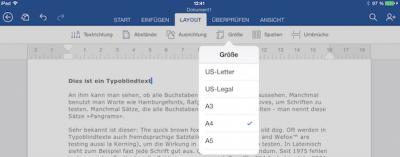 DIN Format in Word für iPad einstellen