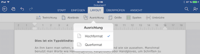 Hoch- und Querformat auf dem iPad in Office Word 365