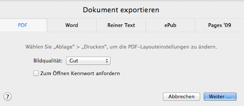 Pages oder Numbers zum Export in PDF