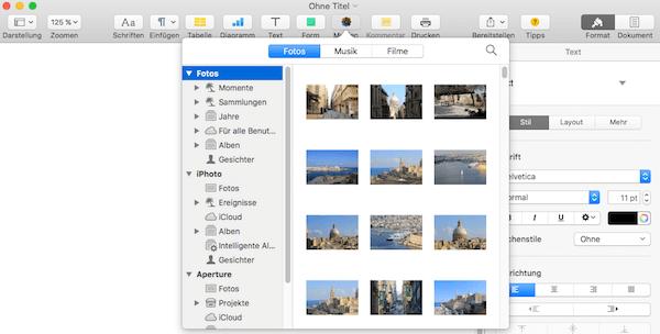 Medien wie Bilder oder Videos in iWork Dokumente einfügen