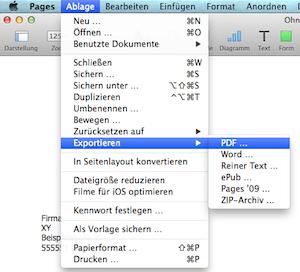 Wie man ein iWork Dokument in PDF umwandeln kann