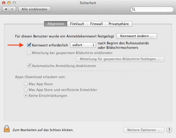 Mac Systemeinstellungen Kennwort sofort abfragen