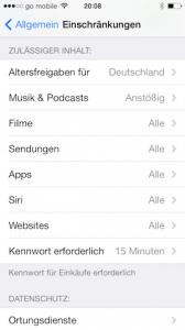 Einschränkungen im iPhone angeben