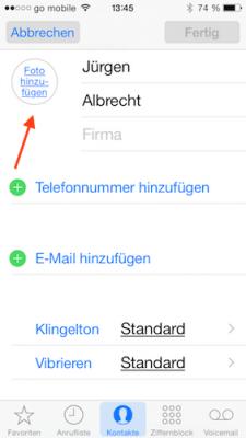 Profil-Foto in Kontakte App iOS 8