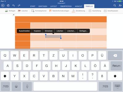 Kontextmenü für Tabellen auf iPad