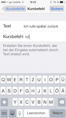 Kurzbefehl in iOS hinzufügen