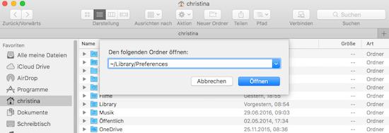 Library und Preferences ordner bei Mac OS Sierra aufrufen