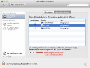Startobjekte unter Mac OS X anzeigen