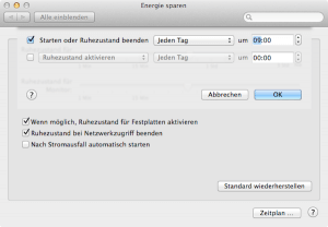 In Systemeinstellungen bei Energie sparen Mac automatisch starten & ausschalten