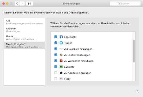 Freigaben in Erweiterungen unter Mac OS X