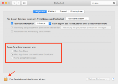 Sicherheitseinstellungen am Mac für das Öffnen von Software