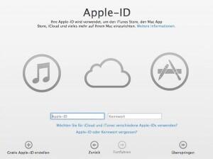 Bei der Konfiguration des Mac werden Sie nach Ihrer Apple ID gefragt