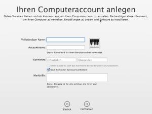 Computeraccount bei Mac Installation anlegen mit Benutzer und Kennwort