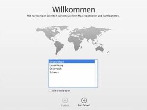 Land wählen bei der Konfiguration von Mac OS X