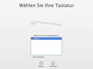 Beim ersten Start des Mac die Tastaturbelegung auswählen