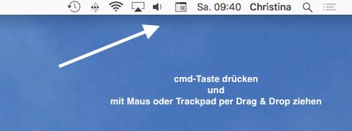 Symbole in der mac Menüleiste verschieben