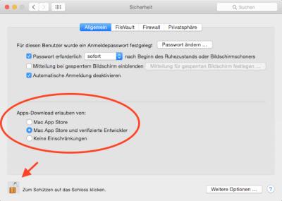 Mac Programme von nicht verifizierten Entwicklern
