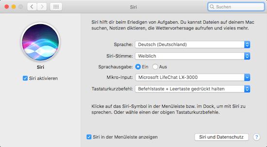 Siri auf dem Mac unter Mac OS Sierra