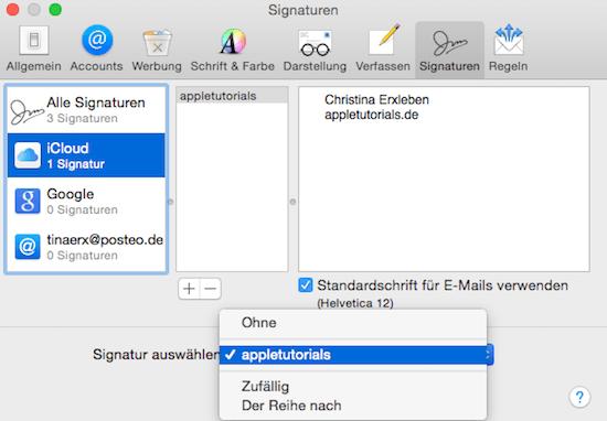 Standard Signatur in Mail App von Apple einrichten