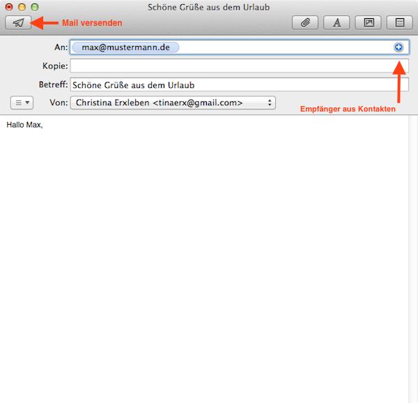 mac os x e mails schreiben mit mail programm von apple