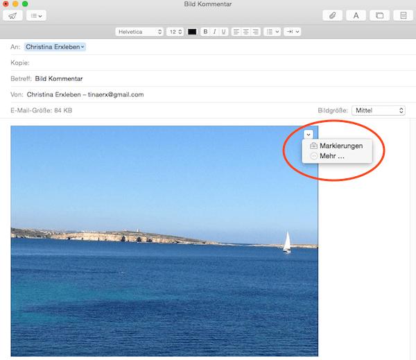Markierung in Mail App aktivieren und Datei beschriften