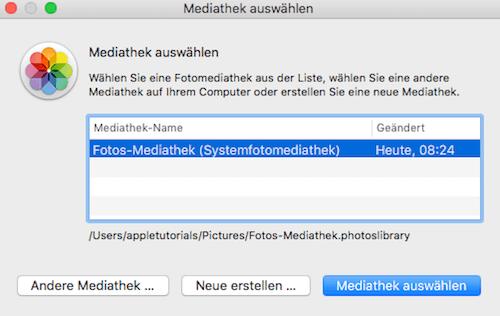 Mehrere Mediatheken in Fotos für Mac OS X verwalten