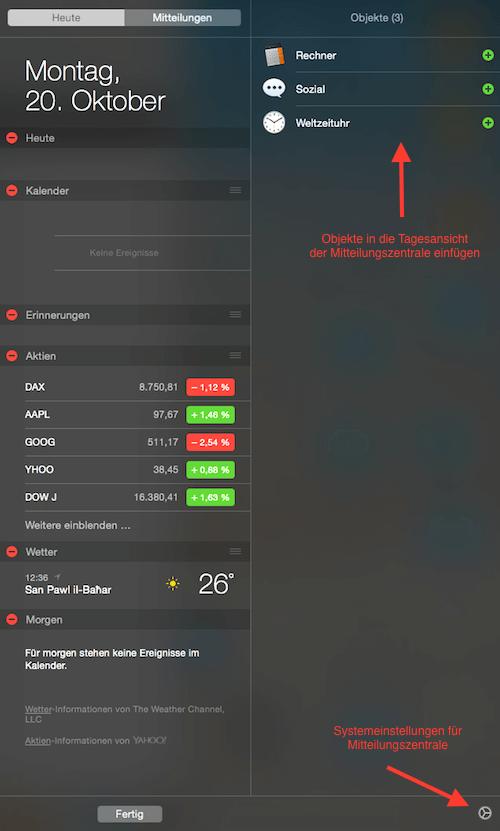 Mitteilungszentrale anpassen - Mac OS X Yosemite