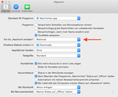 Sounds für eingehende Nachrichten im Apple Messenger auswählen